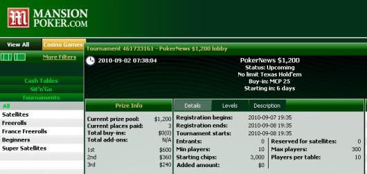 Clasifícate fácilmente para el freeroll de 1.200$ de Mansion Poker 102
