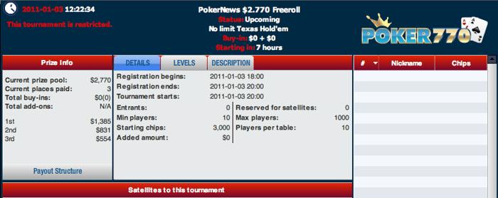 Hoje às 19:00 - ,770 PokerNews Cash Freeroll na Poker 770 101