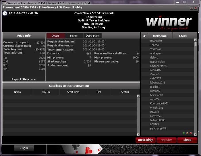 $2,500 Winner Poker frīrolla priekštelpa