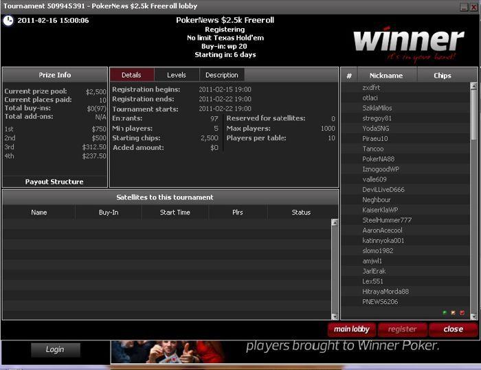 Paskutinis ,500 vertės nemokamas turnyras Winner Poker kambaryje 101
