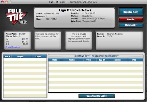 VI Jornada da Liga PT.PokerNews às 21:30 na Full Tilt Poker 101