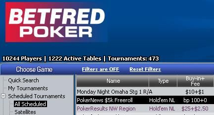 .000 Freerolls na Betfred Poker-u 101