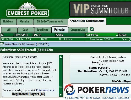 Igraj naše ekskluzivne 0 Cash Freeroll Turnire na Everest Pokeru! 101