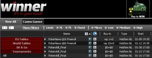 U utorak se igra .000 Freeroll Turnir na Winner Pokeru! 101