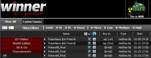 U utorak se igra .000 Freeroll Turnir na Winner Pokeru! 101