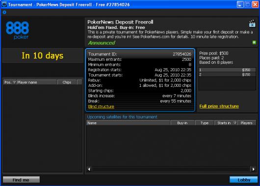 0 PokerNika Deposit Freeroll turniri na 888 Pokeru 101
