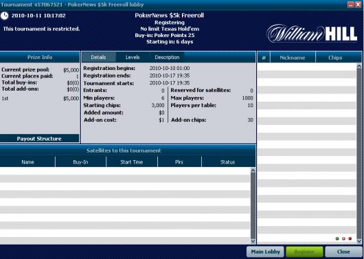 .000 & .000 Freeroll turniri ove nedelje na William Hill Pokeru - samo 27 poena za... 101