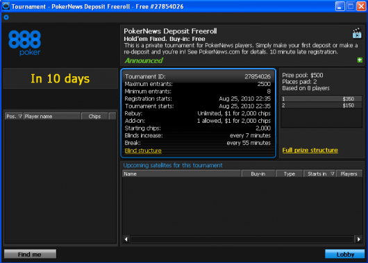 Uskoro novi 0 PokerNika Deposit Freeroll na 888 Pokeru 101