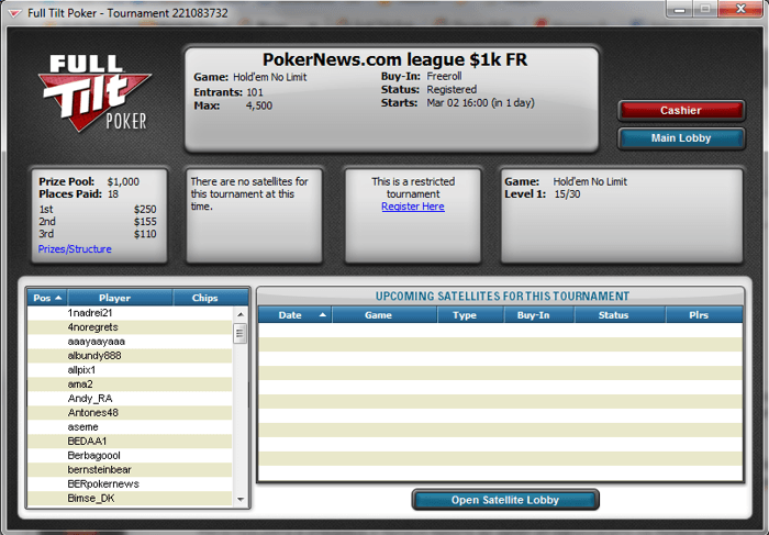 Клуб PokerNews Freeroll