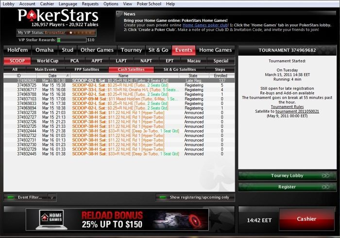 PokerStars SCOOP 2011 сателитите вече започнаха 101