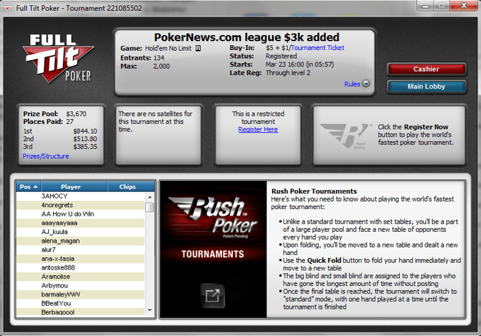 ,000 добавени в PokerNews Rush Poker турнир от 22:00 101