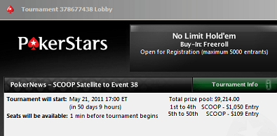 PokerStars SCOOP freerolls - ,000 i exklusiva satelliter 101