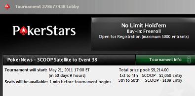 PokerStars SCOOP Freerolls - ,000 em Satélites Exclusivos 101