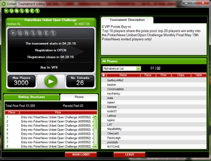 PokerNews фрийрол за €1,000 тази вечер в Unibet Poker 101