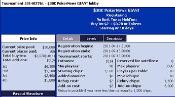 .000 i overlegg ved PokerNews GIANT + 0 stake tilbud 101