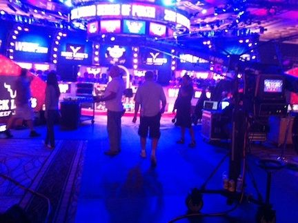 The ESPN crew prepping the final table