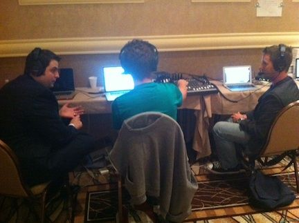 Jack, Rich Ryan, and Matthew Parvis during the PokerNews Podcast