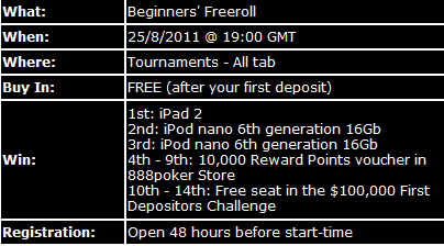 iPAD 2 frīrolls iekš 888 Poker šomēnes 101