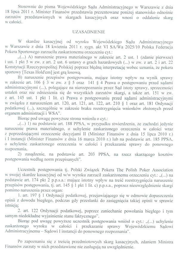 Jest odpowiedz Ministerstwa Finansów na skargę kasacyjną 102