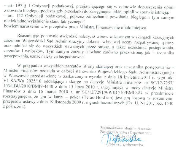 Jest odpowiedz Ministerstwa Finansów na skargę kasacyjną 110