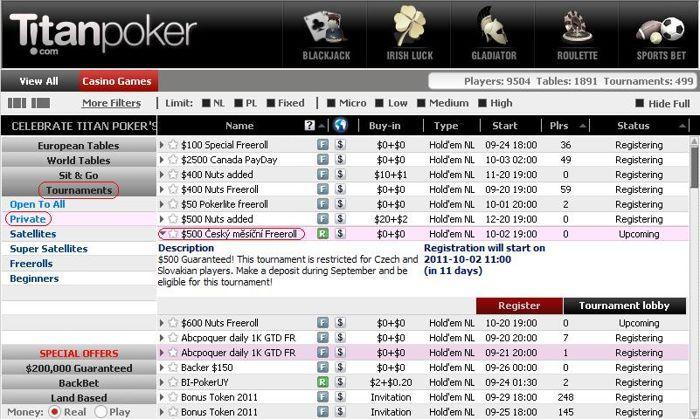 0 Freeroll na Titan Pokeru - pro všechny! 101