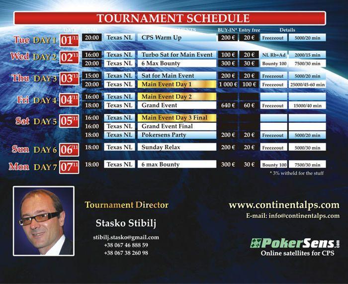 Raspored Turnira Continental Poker Serije