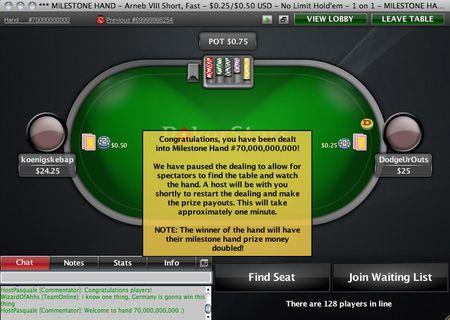 PokerStars entrega la mano 70 mil millones 101