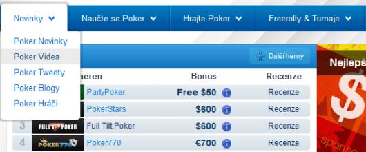 Videa najdete i v horní Záložce Novinky pod položkou Poker Videa