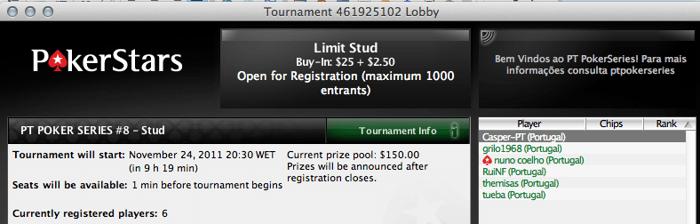Fixed Limit Seven Card Stud hoje à noite no PT Poker Series hoje à noite 102