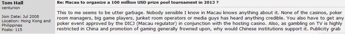 "Tom Hall tacha el Macao Pro Am Open 2013 como ""basura"" 101"