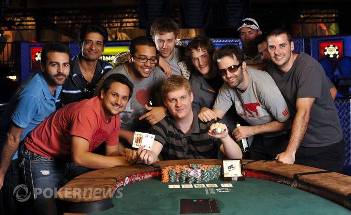 Joe Ebanks celebrates his bracelet win and million-dollar score with friends.