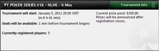 PT Poker Series estreia-se em 2012 com  NLHE 6-Max 101