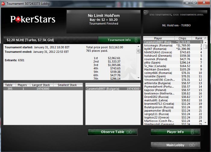 И пак LaMeRiX! Този път трето място в PokerStars The Big  за... 102