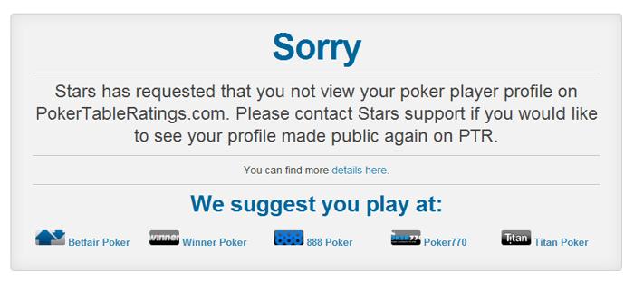 """Při vyhledání hráče z PokerStars se vám objeví tato hláška, jako například u přezdívky """"Isildur1"""""""