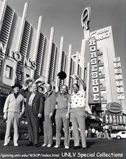 (Left to right) Johnny Moss, Chill Willis, Amarillo Slim, Jack Binion & Puggy Pearson. *Picture courtesy of UNLV.