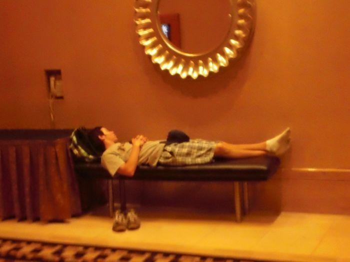 Heavy sleeper in the Rio hallways