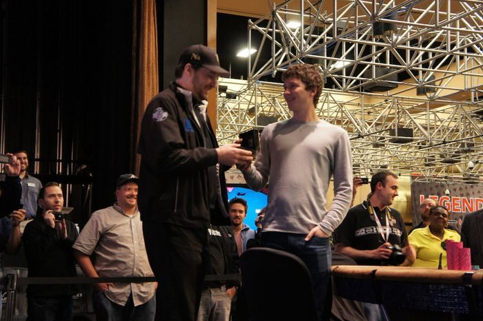 Phil Hellmuth and his son Phillip, presenting him his bracelet