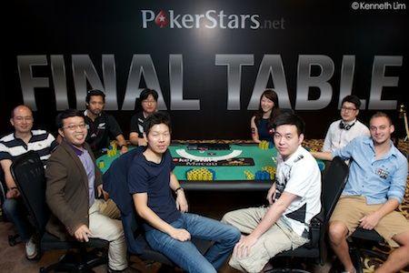 """Final table players, clockwise from Celina Lin (under the """"A""""): Celina Lin, Zhengwei Ni, Jordan Westmorland, Qi Ming Fan, Chang Rak Choi, Richard Hu, Yu Liang, Daniel Sing, Chul Woo Park"""