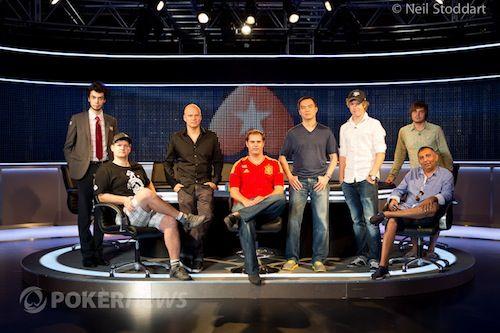 EPT Barcelona Final Table (L to R): Anaras Alekberovas, Antonin Duda, Ilari Sahamies, Samuel Rodriguez, John Juanda, Joni Jouhkimainen, Mikalai Pobel, Sinel Anton