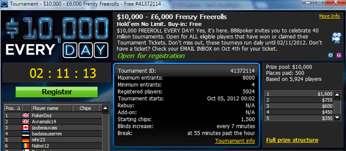 Saa osa 888pokeri 40 miljoni turniiri pidustustest - iga päev  000 freeroll 101