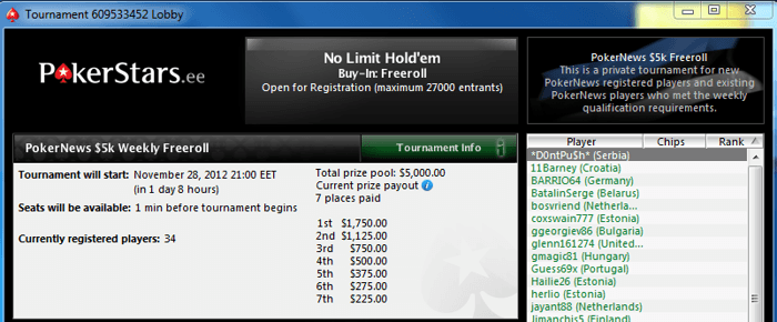 Ära maga maha viimaseid 00 freerolle Pokerstarsis! 101