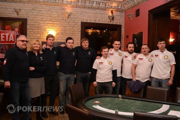 Eesti ja Leedu pokkerikoondised enne maavõistluse algust Vilniuses