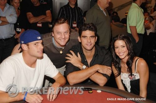 Andy Roddick, Kenna James, Mark Philippoussis and Shannon Elizabeth podczas Aussie Millions 2007