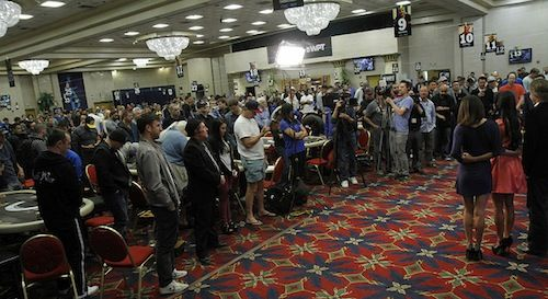 At the end of Mike Sexton's eulogy for Jerry Buss, the entire room stood up for a moment of silence  (photo courtesy of the WPT blog)