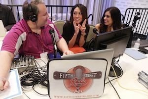 Royal Flush Girls Jeannie Duffy (center) and Danielle Ruiz just recorded a segment on Fifth Street Radio with host Mark Hoke (Photo c/o WPT Blog)
