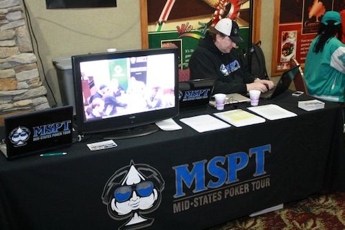 "MSPT Ambassador and noted poker author Chris ""Fox"" Wallace mans the booth"