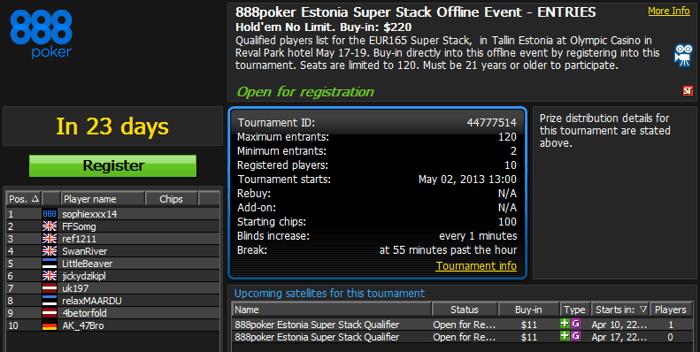 888poker Super Stack seeria 17-19. mai esmakordselt Eestis 101