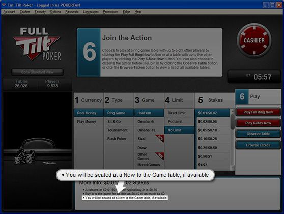 Full Tilt Poker に'New To the Game' テーブル登場 101