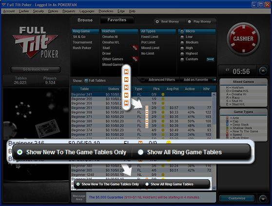 "To Full Tilt Poker παρουσιάζει τα ""New To the Game"" Tables 102"