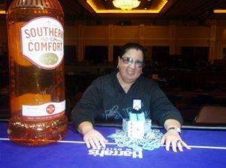 Nancy Birnbaum won her third ring in Harrah's New Orleans Event #5 $365 NLHE. Photo courtesy of WSOP.
